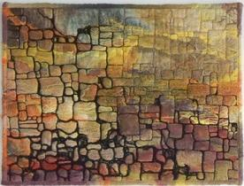 """Lachlan By The Sea"" Art Quilt of a crumbling old stone wall reminiscent of ancient castle remains"