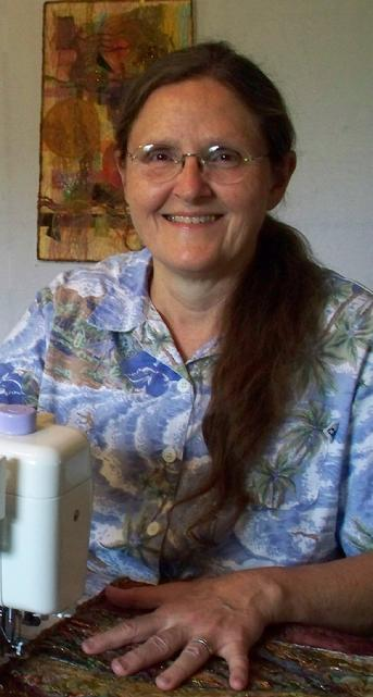 Wendy Read at her sewing machine in her studio