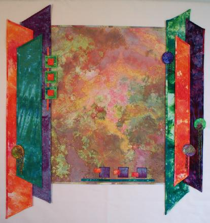"""Carina Nebula"" Art Quilt of snow dyed fabrics"